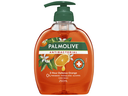 Palmolive Antibacterial Liquid Hand Wash Soap Orange 2 Hour Defence Pump 0% Parabens Recyclable
