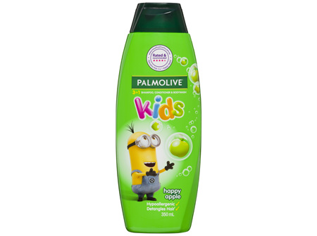 Palmolive Kids 3 in 1 Hypoallergenic Hair Shampoo, Conditioner & Body Wash Minions Happy Apple