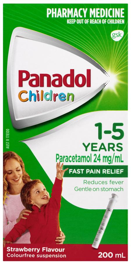 Panadol Children 1-5 Years Suspension, Fever & Pain Relief, Strawberry Flavour, 200 mL