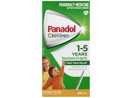 Panadol Children 1-5 Years Suspension, Fever & Pain Relief, Orange Flavour, 200 mL