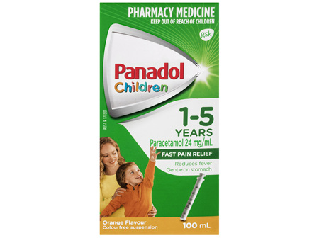 Panadol Children 1-5 Years Suspension, Fever & Pain Relief, Orange Flavour, 100 mL