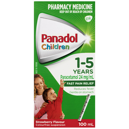 Panadol Children 1-5 Years Suspension, Fever & Pain Relief, Strawberry Flavour, 100 mL