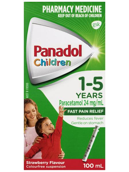Panadol Children 1-5 Years Suspension, Fever & Pain Relief, Strawberry Flavour, 100 mL