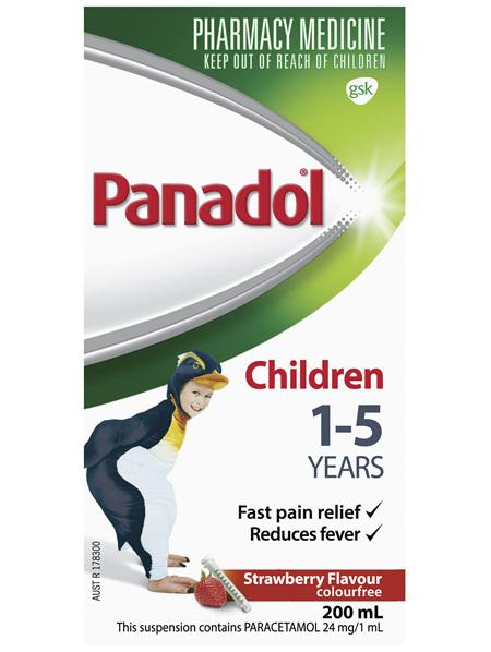 Panadol Children 1-5 Years Suspension, Fever & Pain Relief, Strawberry Flavour 200 mL