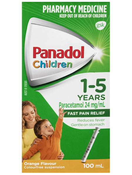 Panadol Children 1-5 Years Suspension, Fever & Pain Relief, Orange Flavour 100 mL