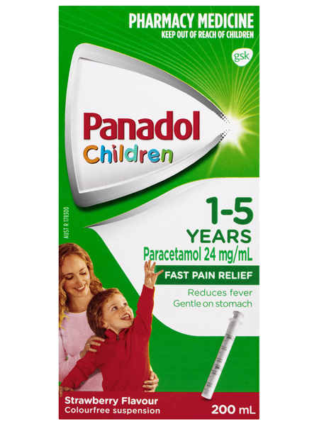 Panadol Children 1-5 Years Suspension, Fever & Pain Relief, Strawberry Flavour, 200 mL