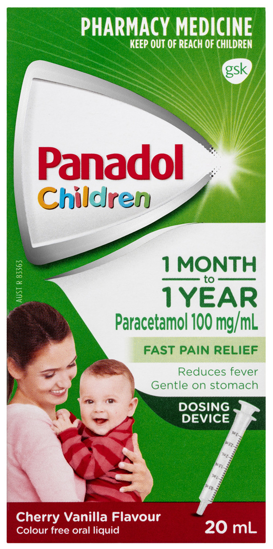 Panadol Children 1 Month – 1 Year Baby Drops with Dosing Device, Fever & Pain Relief, 20 mL