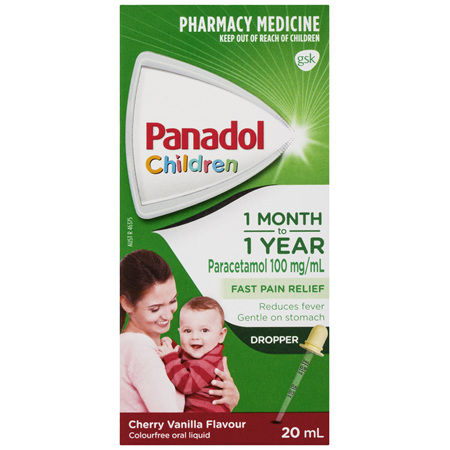 Panadol Children 1 Month to 1 Year Baby Drops with Dropper, Fever & Pain Relief, 20 mL