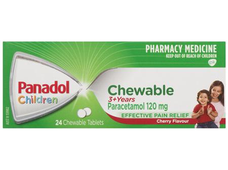 Panadol Children 3+ Years Chewable, Cherry Flavour, 24 Tablets