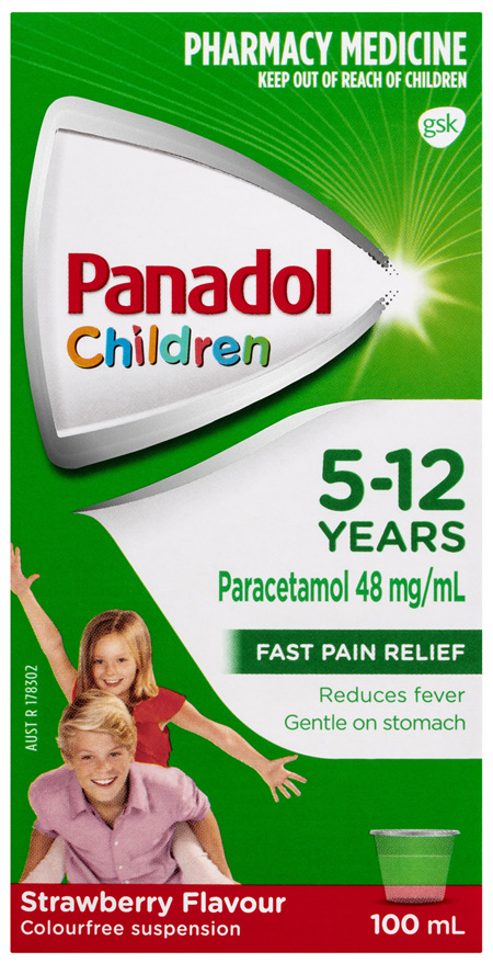 Panadol Children 5-12 Years Suspension, Fever & Pain Relief, Strawberry Flavour, 100 mL