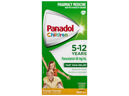 Panadol Children 5-12 Years Suspension, Fever & Pain Relief, Orange Flavour, 200 mL