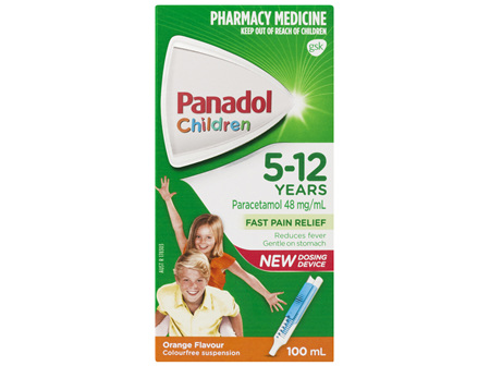 Panadol Children 5-12 Years Suspension, Fever & Pain Relief, Orange Flavour, 100 mL