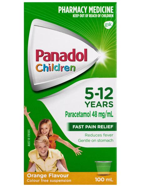 Panadol Children 5-12 Years Suspension, Fever & Pain Relief, Orange Flavour, 100 mL