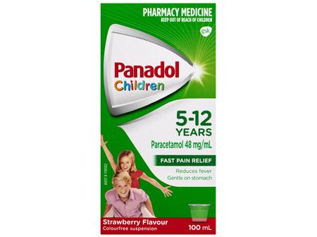 Panadol Children 5-12 Years Suspension, Fever & Pain Relief, Strawberry Flavour, 100 mL