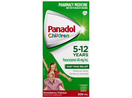 Panadol Children 5-12 Years Suspension, Fever & Pain Relief, Strawberry Flavour, 200 mL