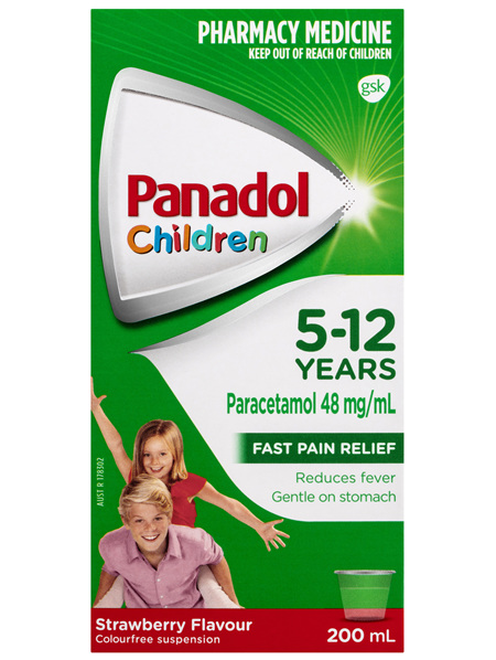 Panadol Children 5-12 Years Suspension, Fever & Pain Relief, Strawberry Flavour, 200 mL