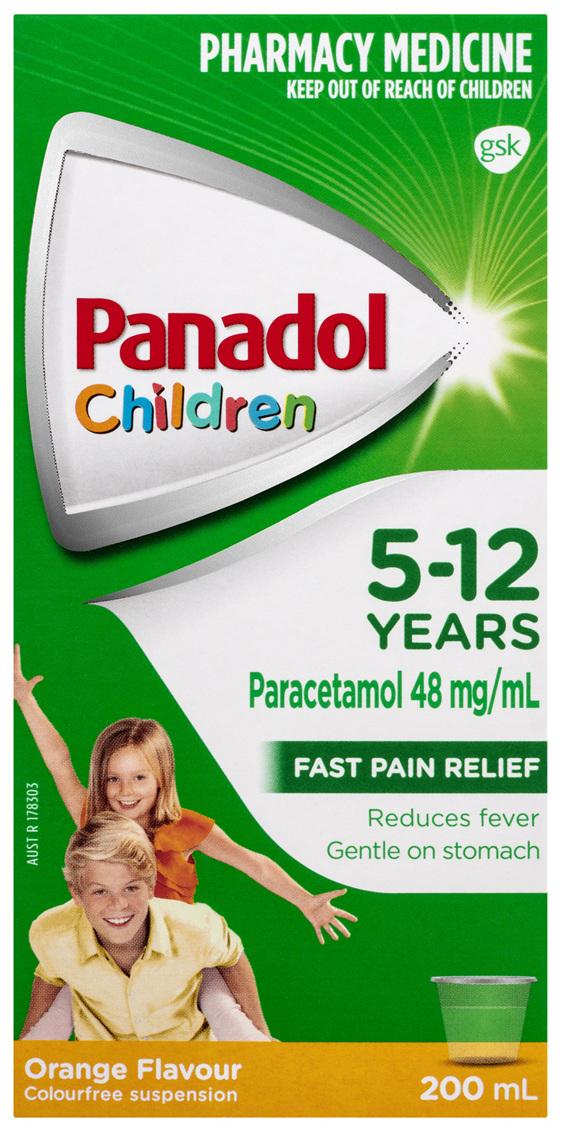 Panadol Children 5-12 Years Suspension, Fever & Pain Relief, Orange Flavour, 200 mL