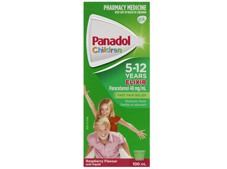 Panadol Children's 5-12 Years Elixir Oral Liquid, Fever & Pain Relief, Raspberry Flavour,  100mL