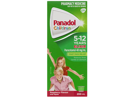 Panadol Children's 5-12 Years Elixir Oral Liquid, Fever & Pain Relief, Raspberry Flavour, 200mL