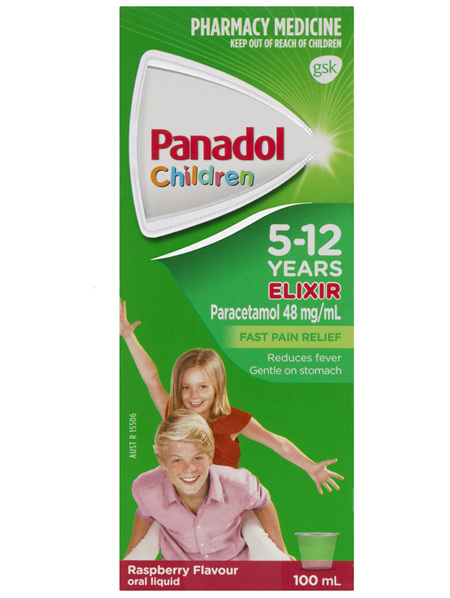 Panadol Children's 5-12 Years Elixir Oral Liquid, Fever & Pain Relief, Raspberry Flavour,  100mL