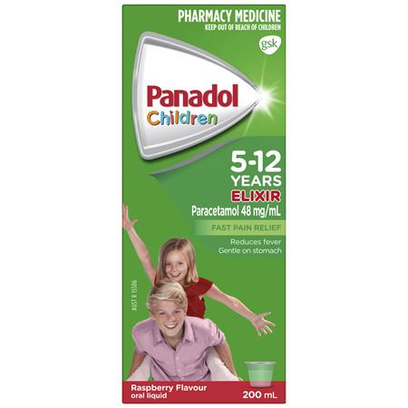 Panadol Children's 5-12 Years Elixir Oral Liquid, Fever & Pain Relief, Raspberry Flavour, 200mL