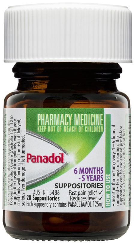 Panadol Children's 6 Months-5 Years Suppositories 125mg 20 Pack