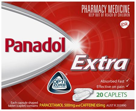 Panadol Extra with Optizorb, Paracetamol Pain Relief Caplets, 20