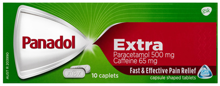 Panadol Extra with Optizorb, Paracetamol Pain Relief Caplets, 10