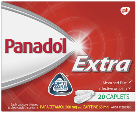 Panadol Extra with Optizorb, Paracetamol Pain Relief Caplets, 20
