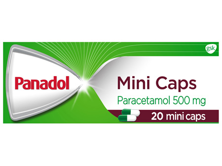 Panadol Mini Caps for Pain Relief, Paracetamol 500 mg, 20