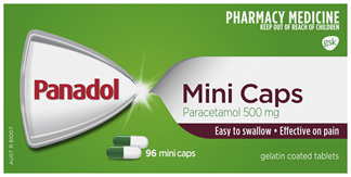 Panadol Mini Caps for Pain Relief, Paracetamol 500 mg, 96