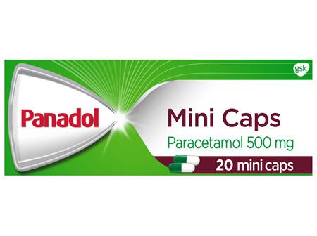 Panadol Mini Caps for Pain Relief, Paracetamol 500 mg, 20