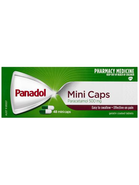 Panadol Mini Caps for Pain Relief, Paracetamol 500 mg, 48