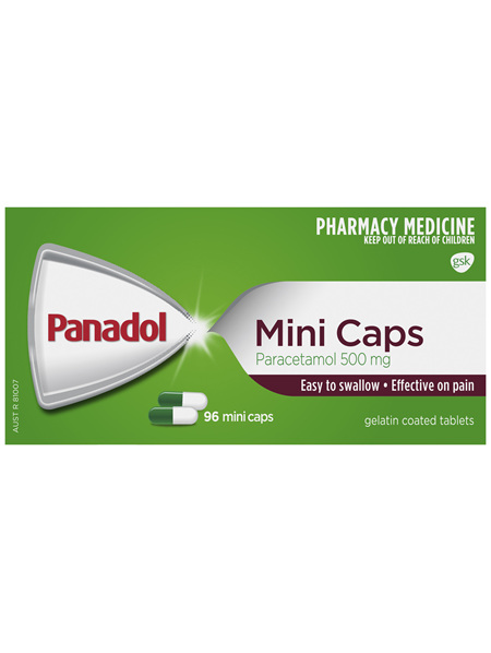 Panadol Mini Caps for Pain Relief, Paracetamol 500 mg, 96