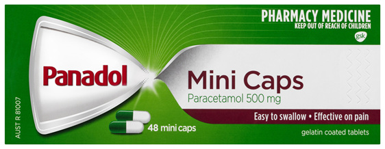 Panadol Mini Caps for Pain Relief, Paracetamol 500 mg, 48