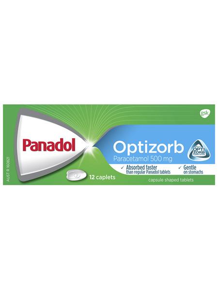 Panadol Optizorb Paracetamol 500mg 12 Caplets for Pain Relief