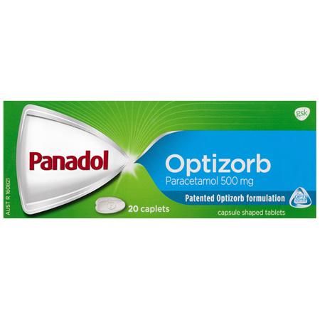 Panadol Optizorb Paracetamol 500mg 20 Caplets