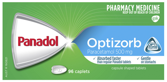 Panadol Optizorb Paracetamol 500mg 96 Caplets