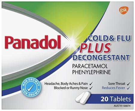 Panadol Plus Cold & Flu Decongestant 20 Tablets