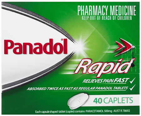 Panadol Rapid Caplets for Pain Relief, Paracetamol 500 mg, 40