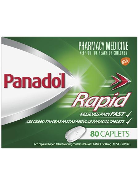 Panadol Rapid Caplets for Pain Relief, Paracetamol 500 mg, 80