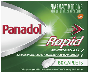 Panadol Rapid Caplets for Pain Relief, Paracetamol 500 mg, 80
