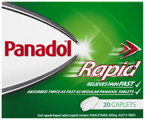 Panadol Rapid Caplets for Pain Relief, Paracetamol 500 mg, 20