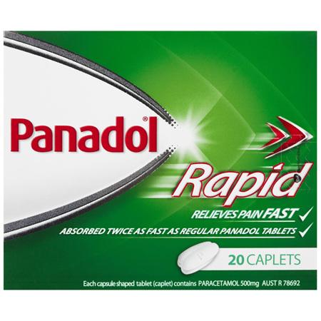 Panadol Rapid Caplets for Pain Relief, Paracetamol 500 mg, 20