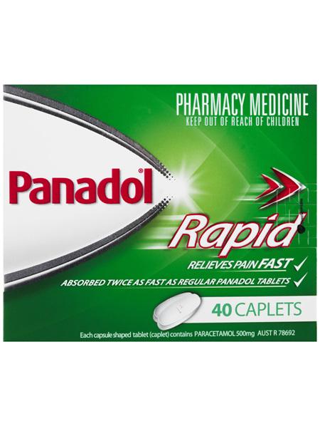 Panadol Rapid Caplets for Pain Relief, Paracetamol 500 mg, 40