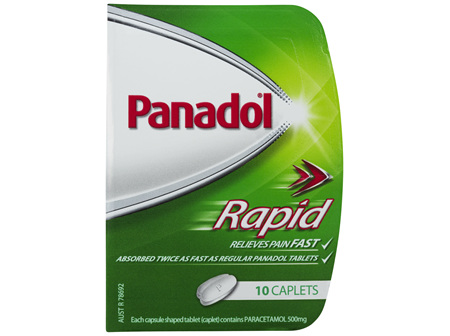 Panadol Rapid Caplets for Pain Relief, Paracetamol 500 mg, 10