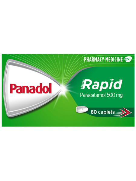 Panadol Rapid, Paracetamol Pain Relief Caplets, 80