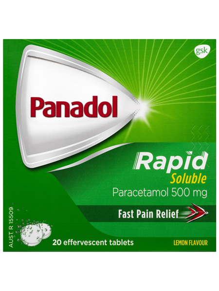 Panadol Rapid Soluble, 500 mg paracetamol, 20 effervescent tablets (pain relief)