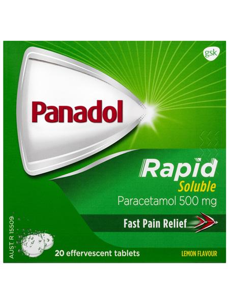 Panadol Rapid Soluble, 500 mg paracetamol, 20 effervescent tablets (pain relief)