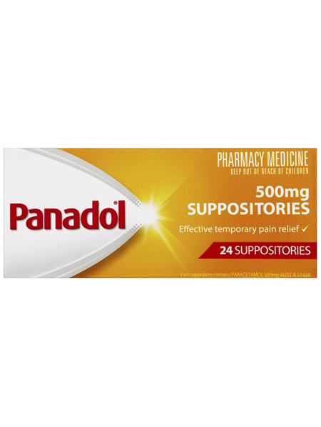 Panadol Suppositories Adult 500mg 24 Pack